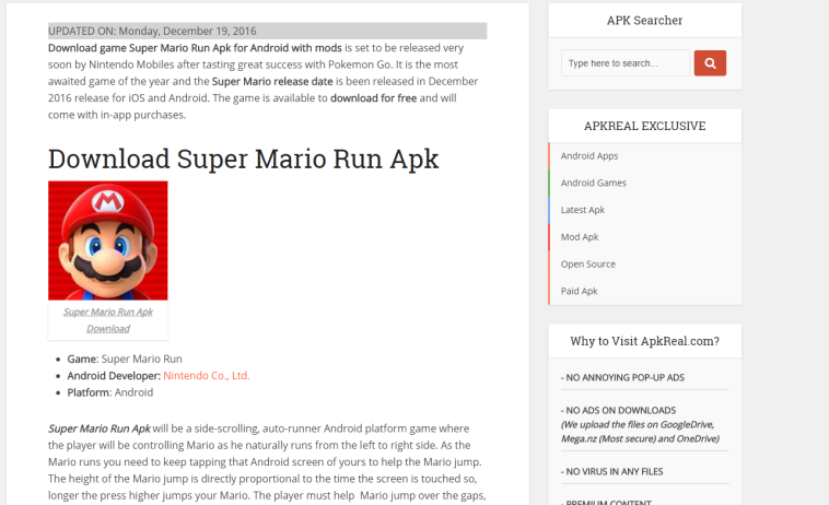 A website claiming to have the APK to download. It's fake though and most likely malware.